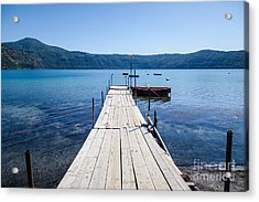 Pontoon With Rowing Boat On Lake Albano Lazio Italy Acrylic Print