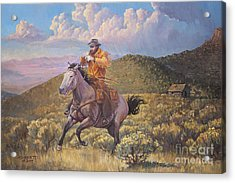 Pony Express Rider At Look Out Pass Acrylic Print by Rob Corsetti
