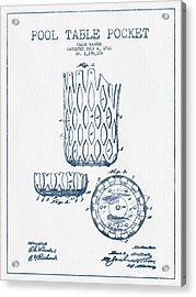 Pool Table Pocket Patent Drawing From 1916  -  Blue Ink Acrylic Print by Aged Pixel