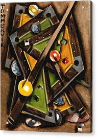 Abstract Cubism Pool Table Art Print Acrylic Print by Tommervik