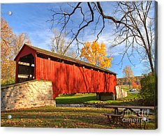 Poole Forge Covered Bridge - Lancaster County Acrylic Print by Adam Jewell