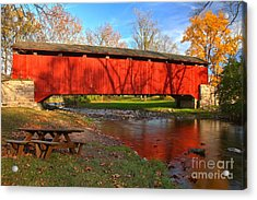 Poole Forge Covered Bridge Reflections In The Conestoga Acrylic Print
