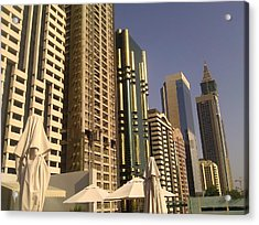 Poolside In Dubai Acrylic Print by Ted Williams