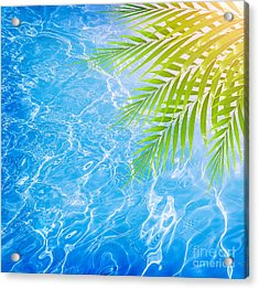 Poolside On Tropical Beach Acrylic Print by Anna Om