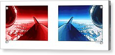 Acrylic Print featuring the photograph Red Blue Jet Pop Art Planes  by R Muirhead Art