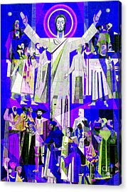 Pop Art Touchdown Jesus Mural At N D U Main Library Acrylic Print by Tina M Wenger
