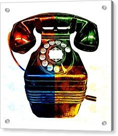 Pop Art Vintage Telephone 4 Acrylic Print by Edward Fielding