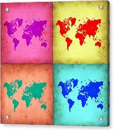 Pop Art World Map 1 Acrylic Print by Naxart Studio