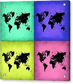 Pop Art World Map 2 Acrylic Print by Naxart Studio