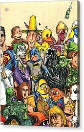 Pop Culture Ventriloquist Mashup Acrylic Print by John Ashton Golden