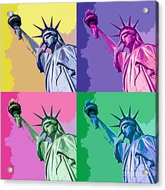 Pop Liberty Acrylic Print by Delphimages Photo Creations