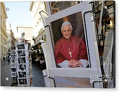 Pope Benedict Xvi. Postcard In A Rack. Rome. Lazio. Italy. Europe Acrylic Print by Bernard Jaubert