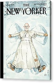 Pope Francis Makes A Snow Angel Acrylic Print