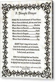 Pope Francis St. Francis Simple Prayer Fleury Of Faith Acrylic Print by Desiderata Gallery