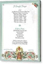 Pope Francis St. Francis Simple Prayer Florentine Angel Acrylic Print by Desiderata Gallery