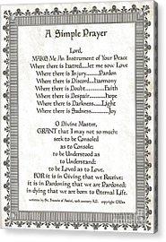 Pope Francis St. Francis Simple Prayer Scrolling Faith Acrylic Print by Desiderata Gallery