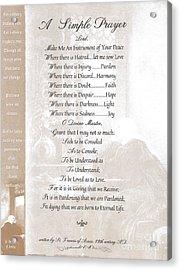 Pope Francis St. Francis Simple Prayer St. Teresa Acrylic Print by Desiderata Gallery