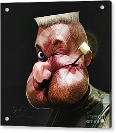 Acrylic Print featuring the painting Popeye Portrait by Dave Luebbert