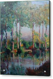 Acrylic Print featuring the painting Poplars by Rosemarie Hakim