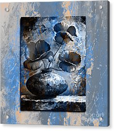 Poppies 02 - Style Blue Peach Acrylic Print by Emerico Imre Toth