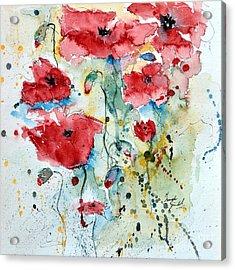 Poppies 04 Acrylic Print by Ismeta Gruenwald
