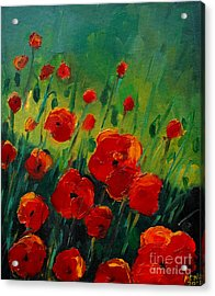 Poppies 4 Acrylic Print by Mona Edulesco