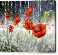 Acrylic Print featuring the digital art Poppies And Pearls by Susanne Baumann