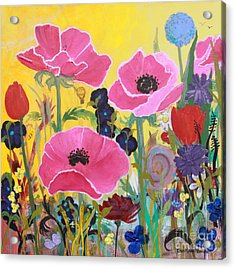 Poppies And Time Traveler Acrylic Print
