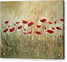 Acrylic Print featuring the painting Poppies And Wild Flowers by Dorothy Maier