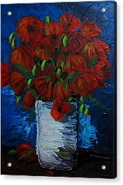 Poppies Acrylic Print by Anne Parker