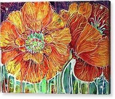 Poppies Batik Abstract Acrylic Print by Marcia Baldwin