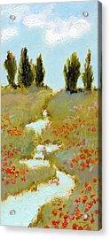 Poppies By A Stream Acrylic Print by J Reifsnyder