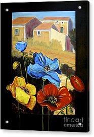 Poppies Citiscape Acrylic Print