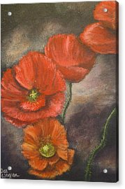 Acrylic Print featuring the painting Poppies by Dan Wagner