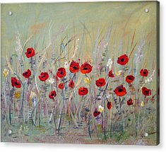 Acrylic Print featuring the painting Poppies by Dorothy Maier