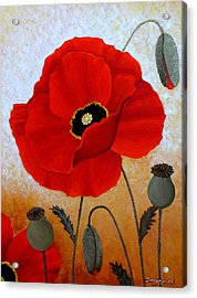 Poppies I Acrylic Print by Deyana Deco