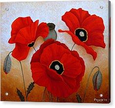 Poppies II Acrylic Print by Deyana Deco
