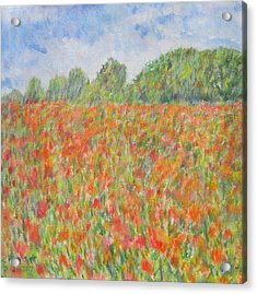 Poppies In A Field In Afghanistan Acrylic Print