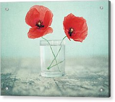 Poppies In A Glass, Still Life Acrylic Print