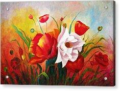Poppies In My Garden Acrylic Print