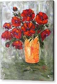 Poppies In Orange Vase Acrylic Print