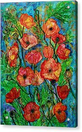Poppies In Storm Acrylic Print