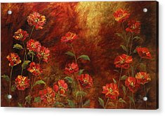 Acrylic Print featuring the painting Poppies In The Garden by Vic  Mastis