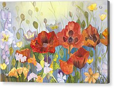 Poppies In The Light Acrylic Print by Sandy Linden