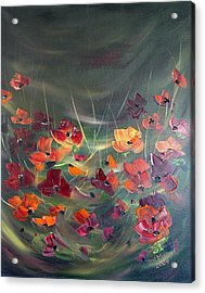 Acrylic Print featuring the painting Poppies In The Shadow by Dorothy Maier