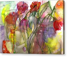 Poppies In The Sun Acrylic Print by Claudia Smaletz