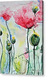 Acrylic Print featuring the painting Poppies by Ismeta Gruenwald