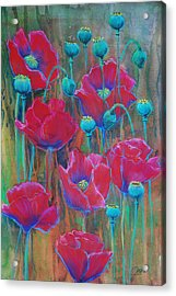 Acrylic Print featuring the painting Poppies  by Jani Freimann