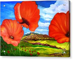 Poppies Of Provence Acrylic Print by Therese Alcorn