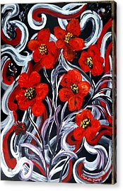Acrylic Print featuring the painting Poppies???? by Renate Voigt